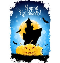 Abstract Blue Halloween Card vector image