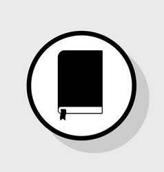 Book sign flat black icon in white circle vector