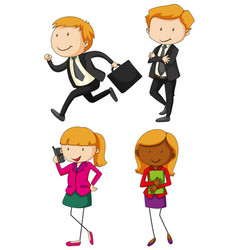 business people in four actions vector image vector image