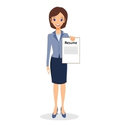 Business woman with resume character vector image
