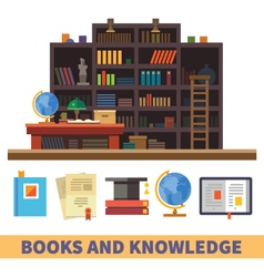 Cabinet and library vector