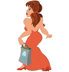 Cartoon girl in long red dress with bag side view vector