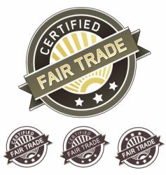 certified fair trade label vector image vector image