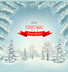 christmas holiday winter landscape background vector image vector image