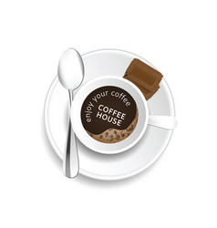 Coffe cup with message and cookies vector