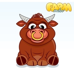 Cute Cartoon Bull vector image vector image