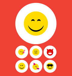 Flat icon face set of party time emoticon pouting vector