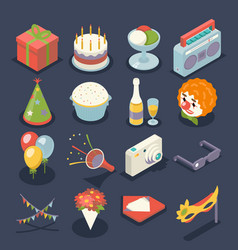 Fun birthday party event celebrate night icons and vector