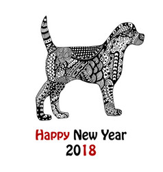 Handdrawn dog with pattern in black and white vector