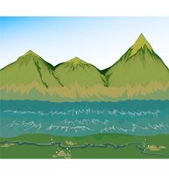 High tide sea with mountain vector