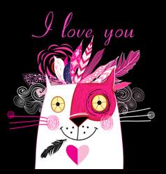 in love cat vector image vector image