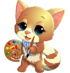 Kitten artist vector