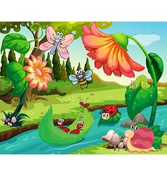 Many insects living by the river vector image vector image