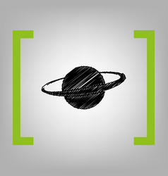 Planet in space sign black scribble icon vector