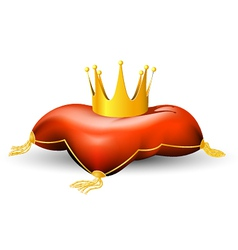 royal crown on the pillow vector image vector image