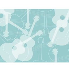 Seamless pattern with acoustic guitar silhouettes vector image vector image