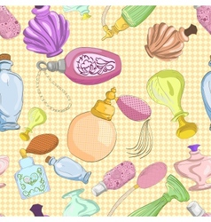 Seamless pattern with cartoon perfume bottles vector image