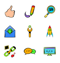 seo icons set cartoon style vector image vector image