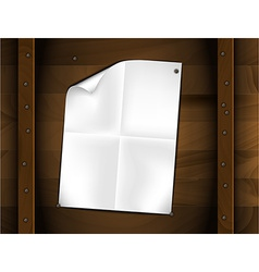 sheet of folded white paper on a wood vector image vector image
