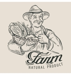 sketch of a happy farmer with a basket of fresh vector image vector image