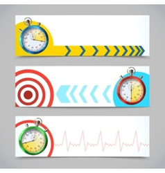 Stopwatch banners horizontal vector image vector image