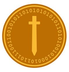 Symbolic sword digital coin vector