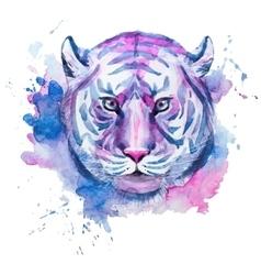 Watercolor raster tiger vector