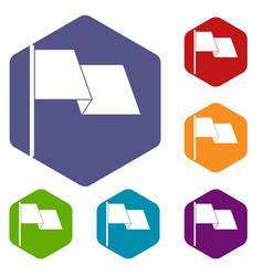Waving flag icons set hexagon vector