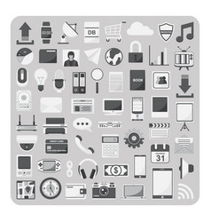 flat icons cloud computing technology set vector image
