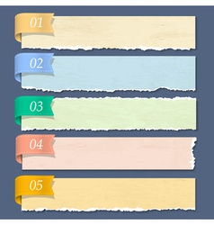 Torn paper numbered banners vector