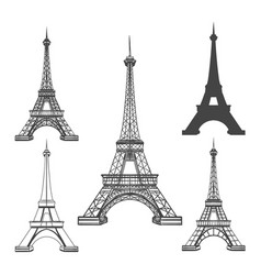 Eiffel tower black silhouettes vector