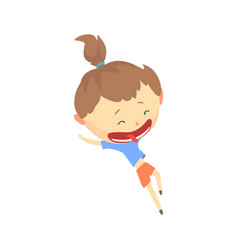 Happy cartoon girl running kids outdoor activity vector