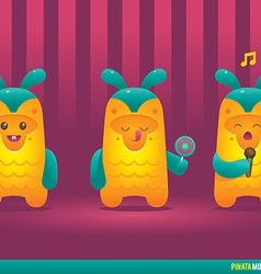 Cute pineapple pinata monsters vector