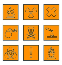 Orange square black outline hazardous waste vector