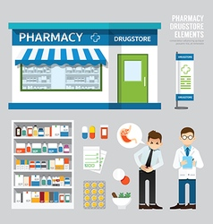 Pharmacy drugstore set design shop store package vector