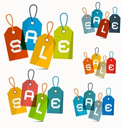 Colorful sale labels set isolated on white vector