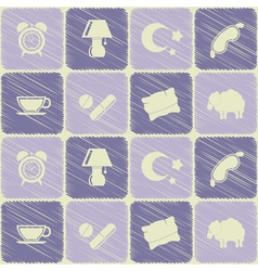 Seamless background with sleeping icons vector