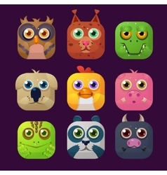 Cute animal icon set vector