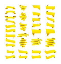 Yellow ribbons set elements isolated on white vector