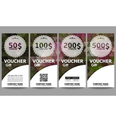 Set of modern gift voucher templates polygonal vector