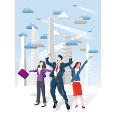 Successful Executives Jumping vector image