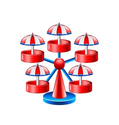 Mini wheel carousel isolated on white vector