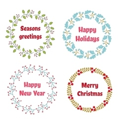 Christmas and New Year wreath set with vector image