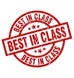 Best in class round red grunge stamp vector