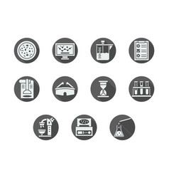 Biochemistry gray round icons set vector