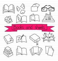 Books scetches icon set vector