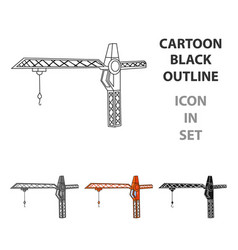 building crane icon in cartoon style isolated on vector image