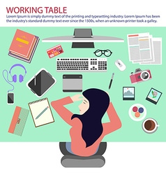 Busy woman taking nap on the working table vector