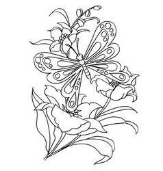 Butterfly and flower cartoon coloring page vector