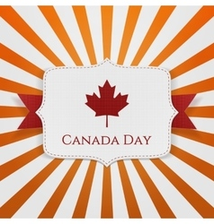 Canada day patriotic emblem with ribbon vector
